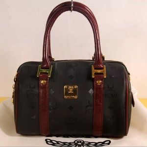 Auth MCM Visetos Honshu Boston Tote Bag+Dust Cover